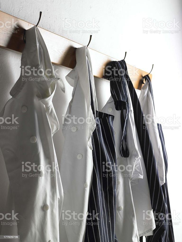 Chef's whites on hooks stock photo
