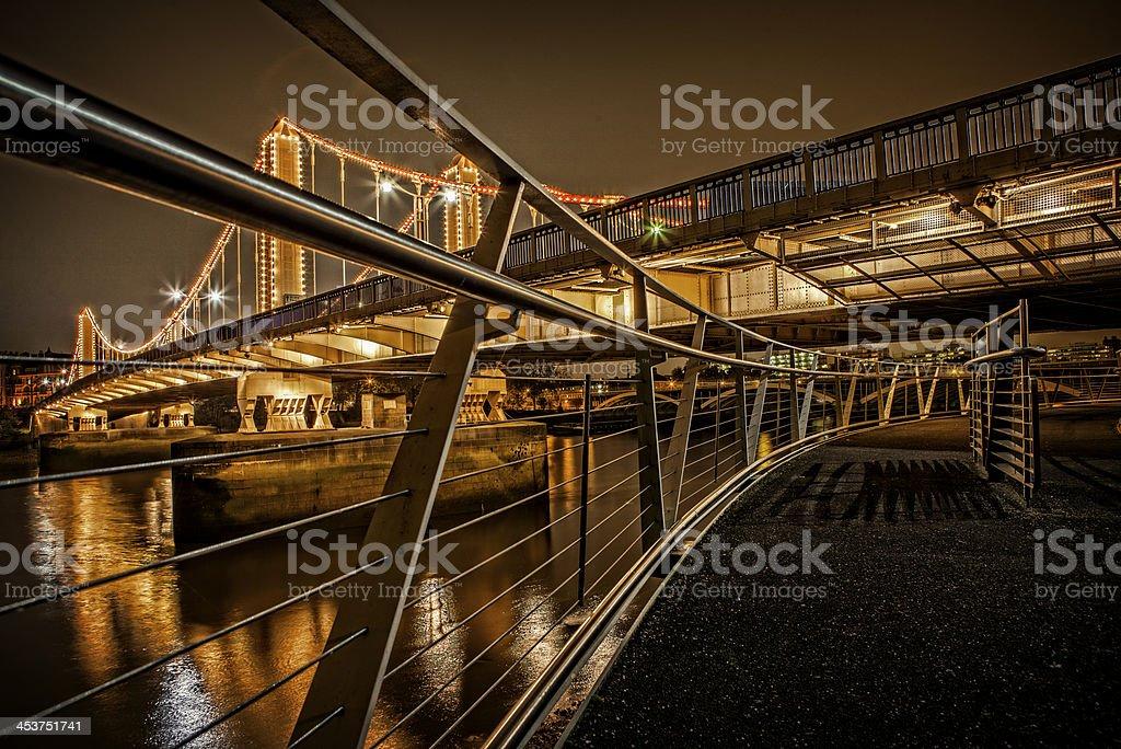 Chelsea Bridge at night stock photo
