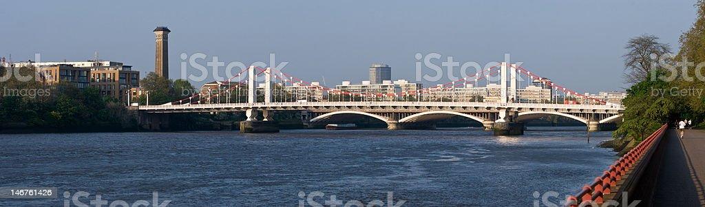 Chelsea Bridge Panorama stock photo