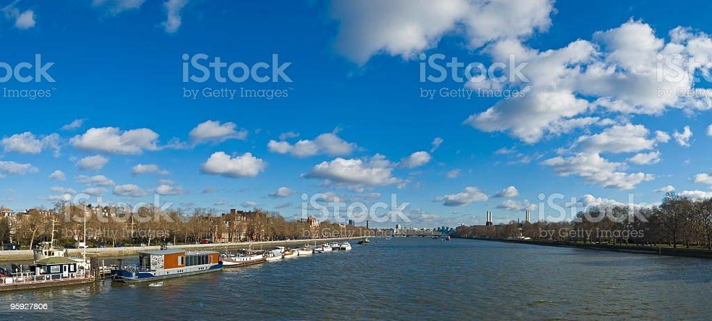 Chelsea houseboats London stock photo