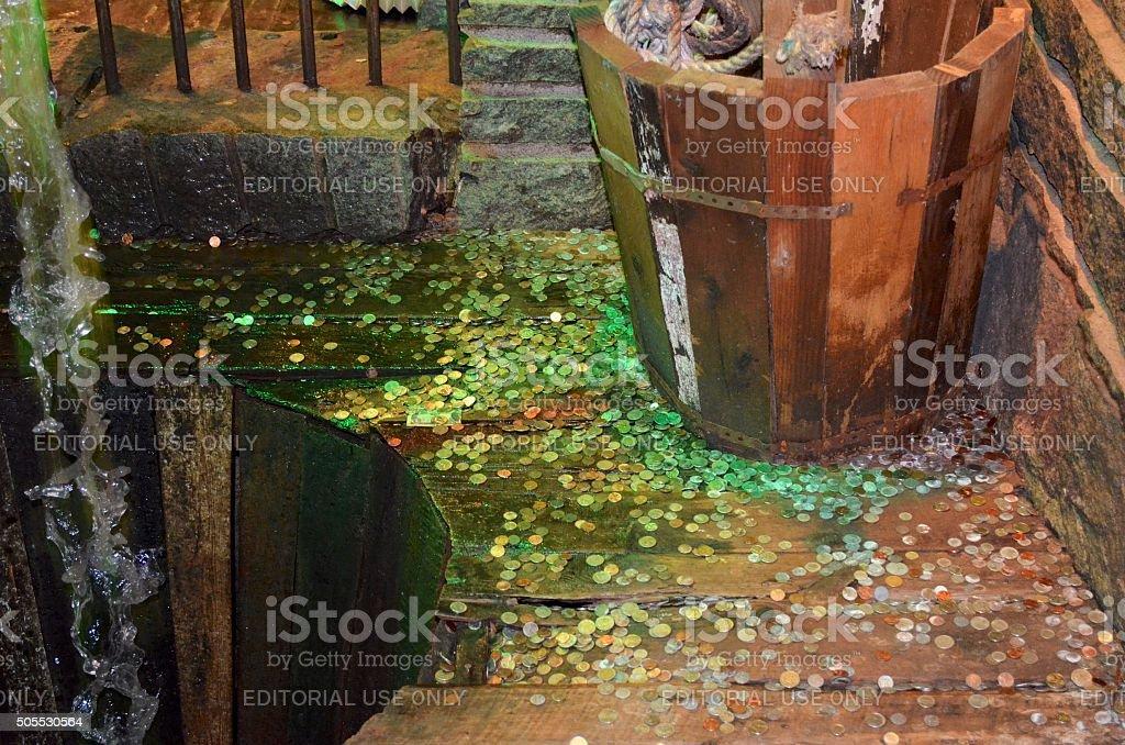 Chelsea Market Pipe Fountain, New York City, USA stock photo
