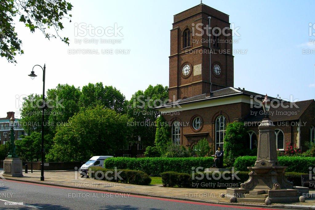 Chelsea Old Church in London stock photo