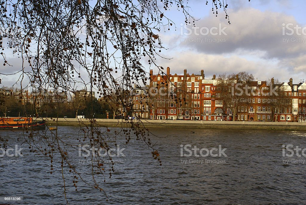 Chelsea view from Battersea Park, London, UK stock photo