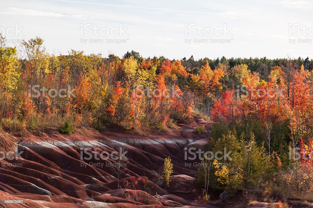 Cheltenham badlands in autumn, Ontario, Canada stock photo