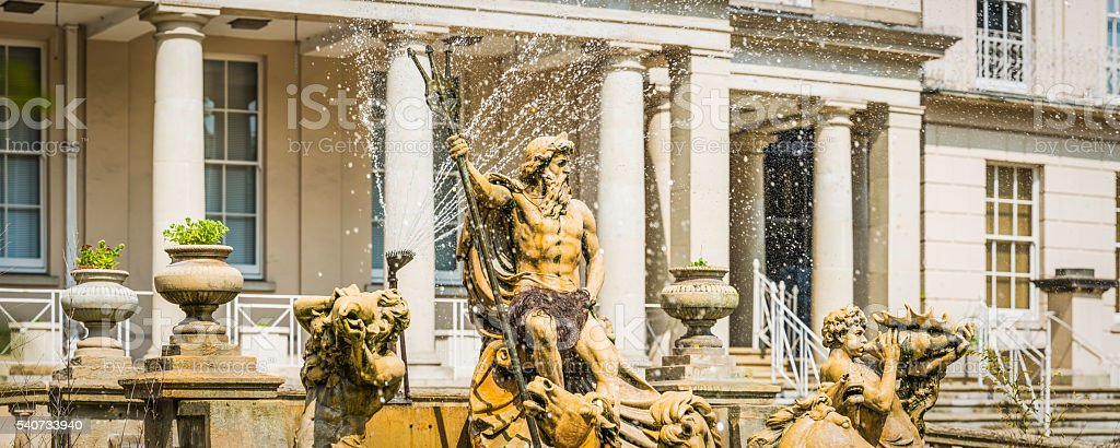 Cheltenham Neptune fountain statue overlooking the Promenade panorama Gloucestershire UK stock photo