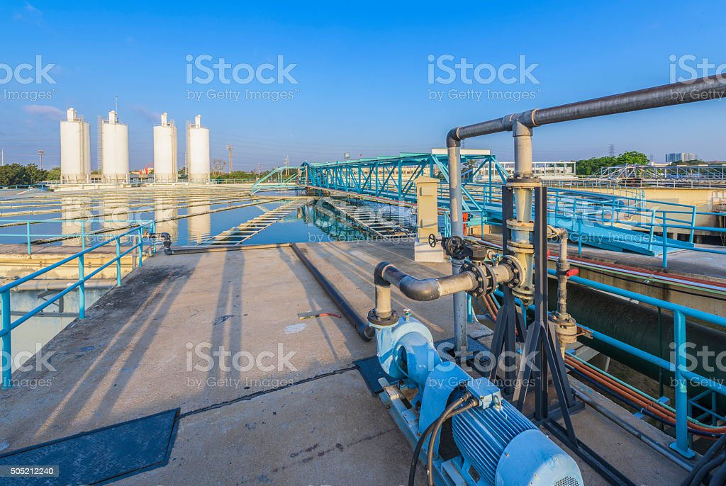 Chemical addition process in Water Treatment Plant stock photo