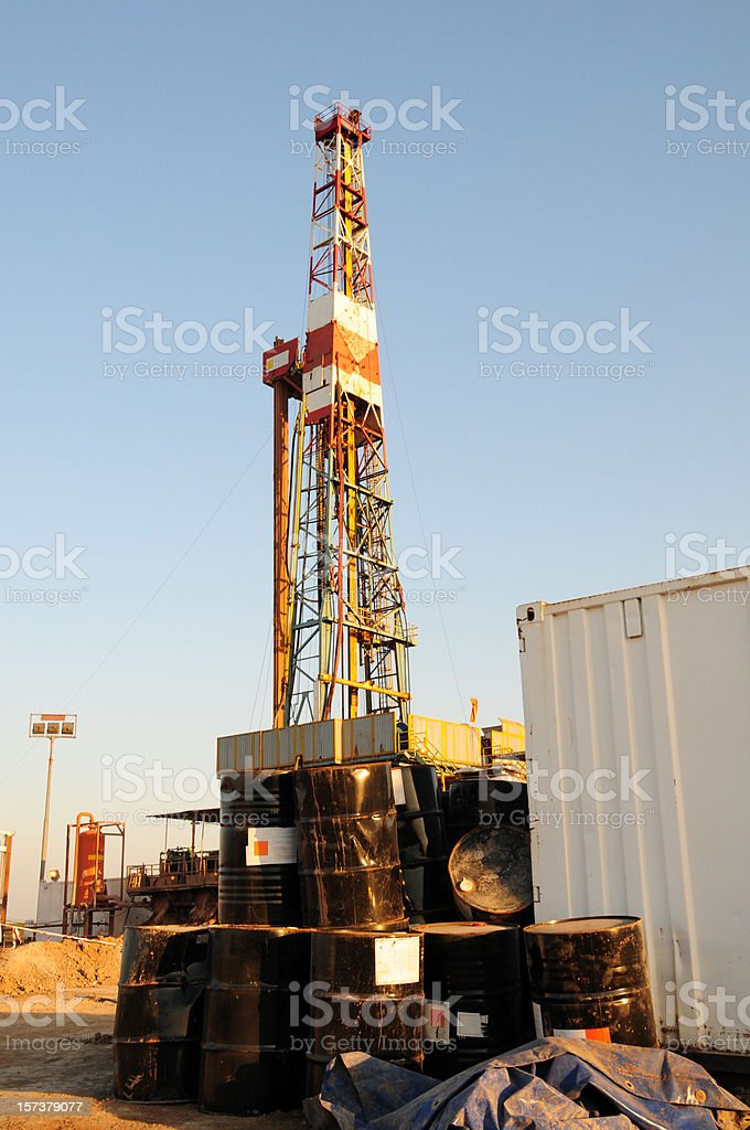 Chemical containers at rig site royalty-free stock photo
