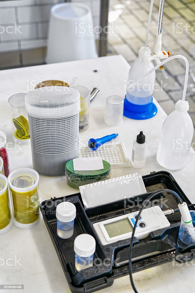 Chemical equipment at the dairy in France stock photo