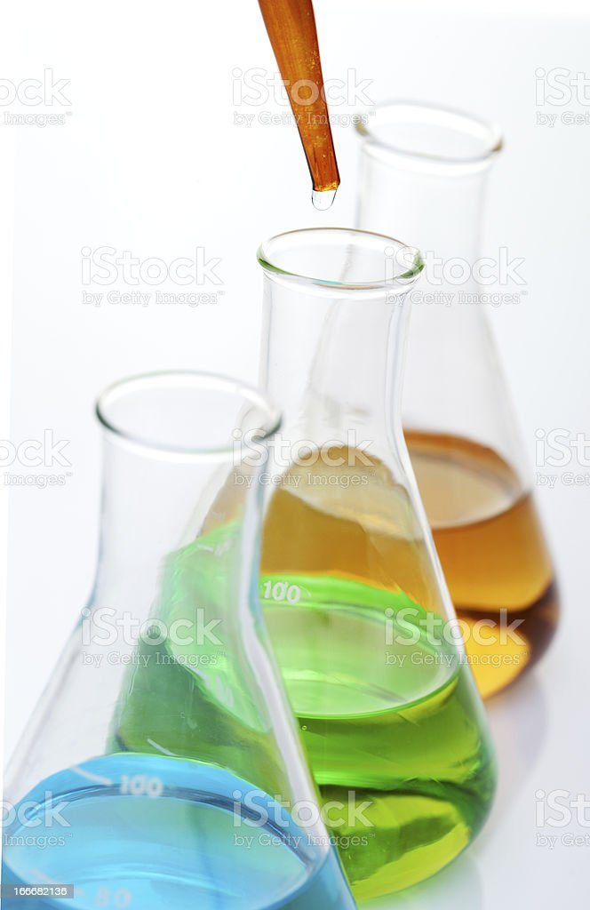Chemical equipment on lab table royalty-free stock photo