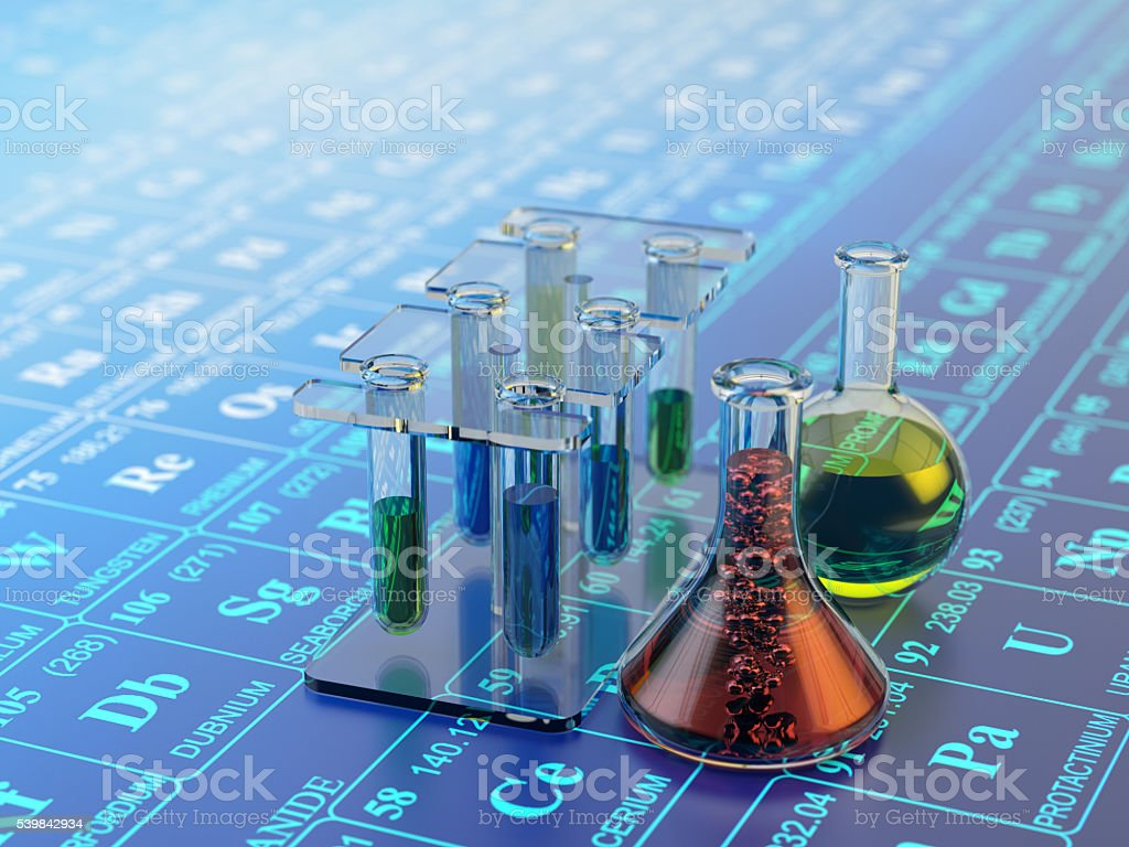 Chemical experiment, science research and chemistry concept stock photo
