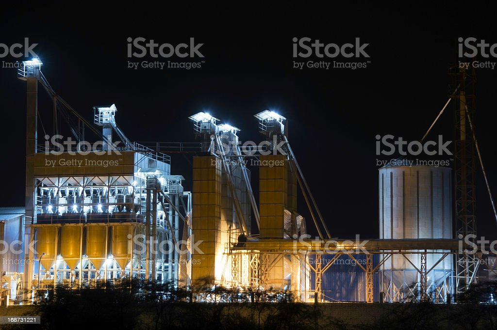 Chemical Factory at Night royalty-free stock photo