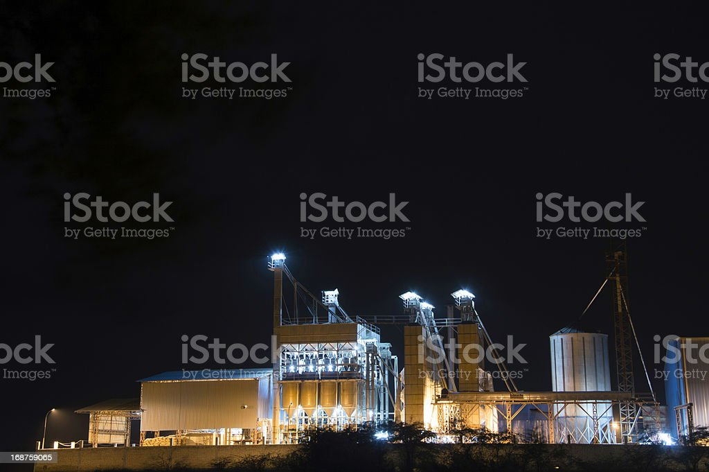 Chemical Factory at Night. royalty-free stock photo