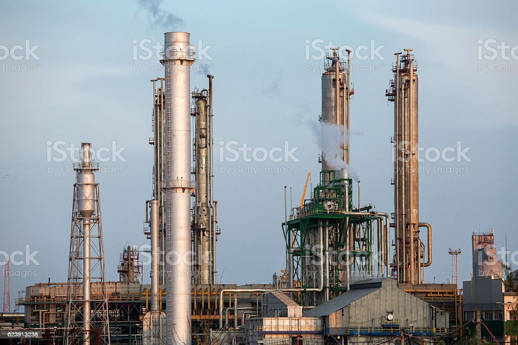 Chemical factory, for production of ammonia. stock photo