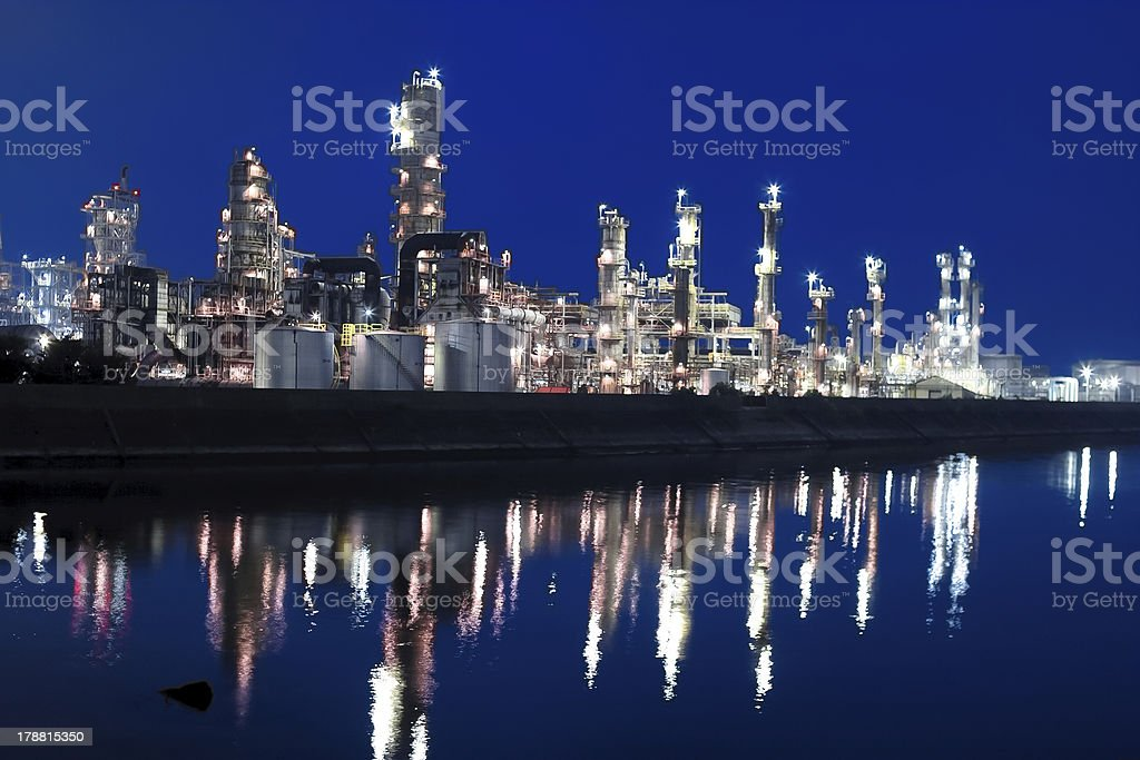 Chemical factory zone along the canal royalty-free stock photo