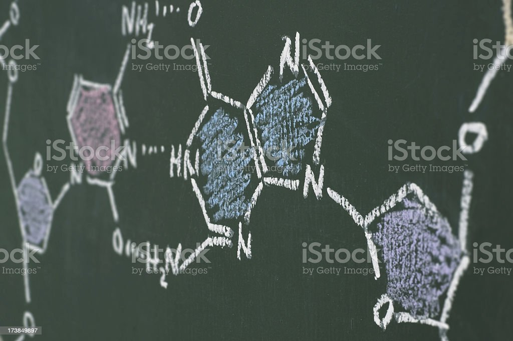 chemical formula of DNA (detail) on a blackboard royalty-free stock photo