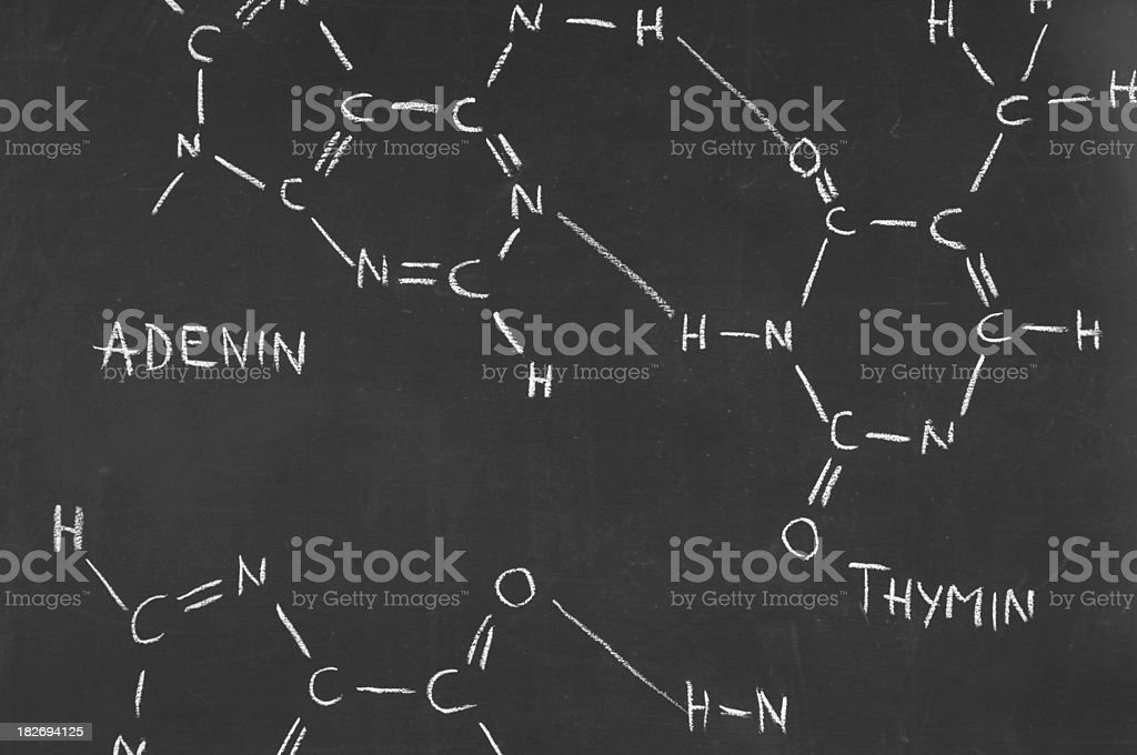 chemical formula of DNA on a blackboard royalty-free stock photo