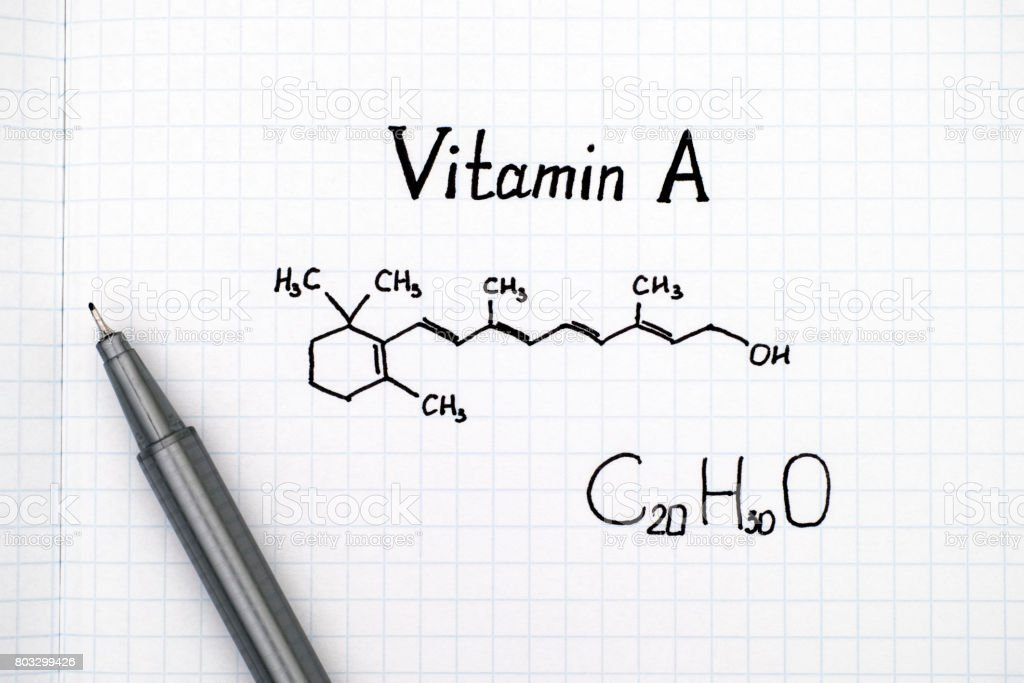 Chemical formula of Vitamin A with black pen. stock photo