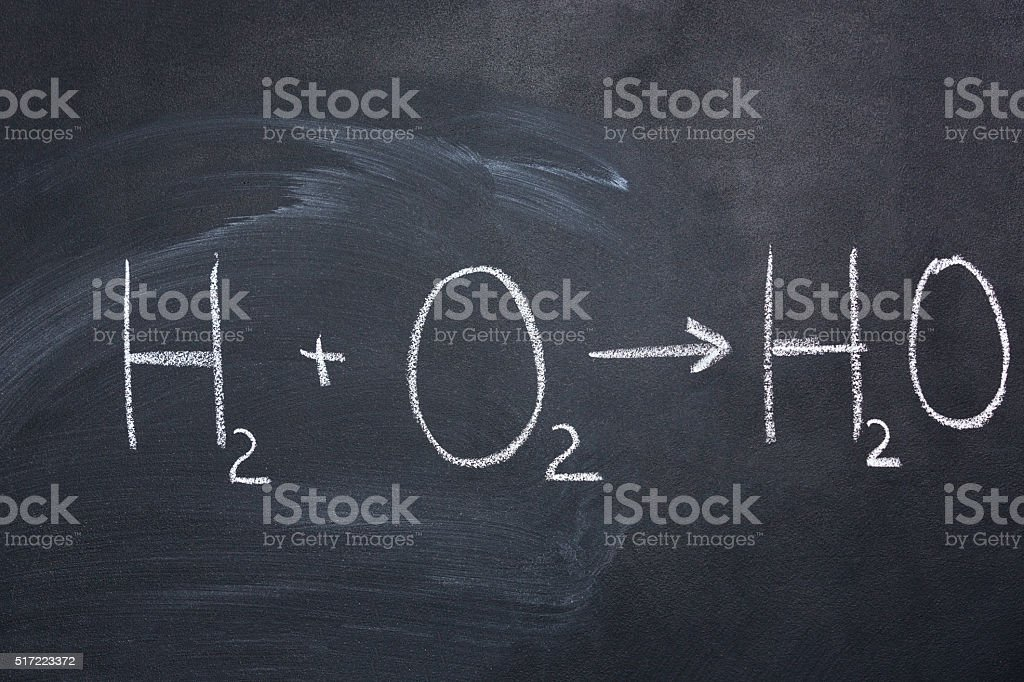 Chemical formula of water drawn on blackboard stock photo