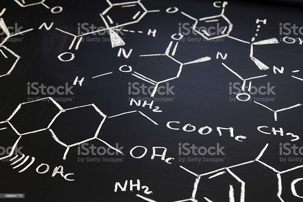 chemical formula on blackboard royalty-free stock photo
