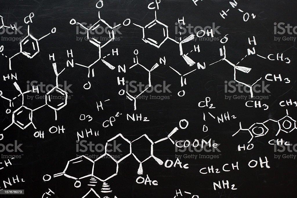 Chemical formula written stylishly on a black background stock photo