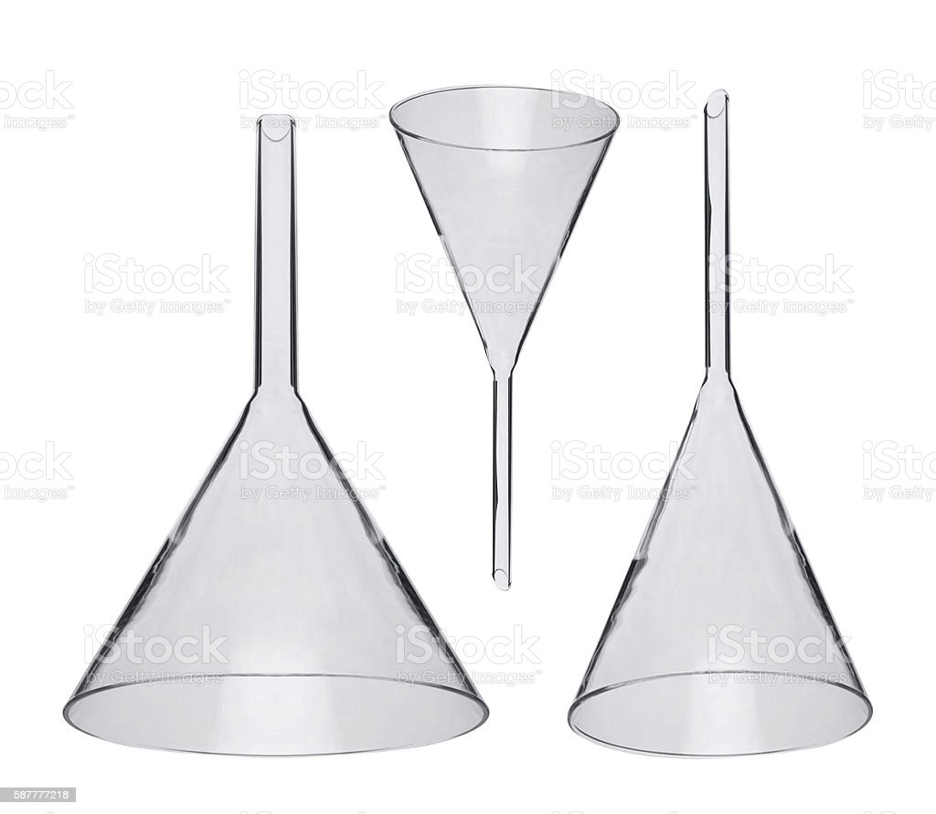 chemical funnels iolated on white stock photo