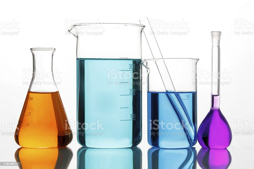 Chemical glassware for experiments stock photo