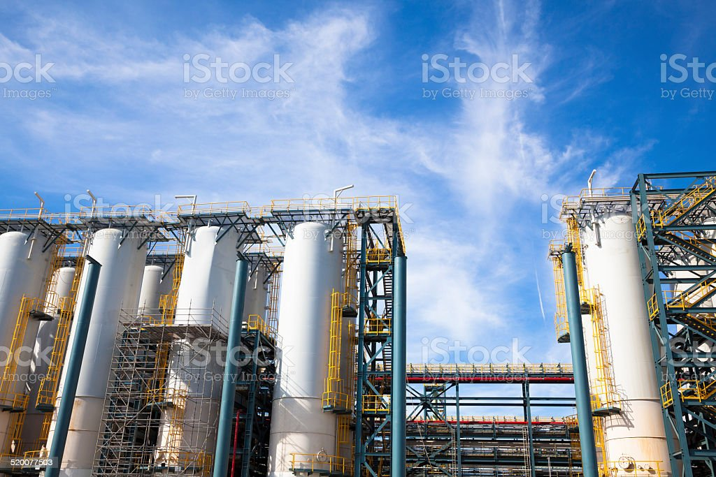 chemical Industrial Plant against the blue sky stock photo