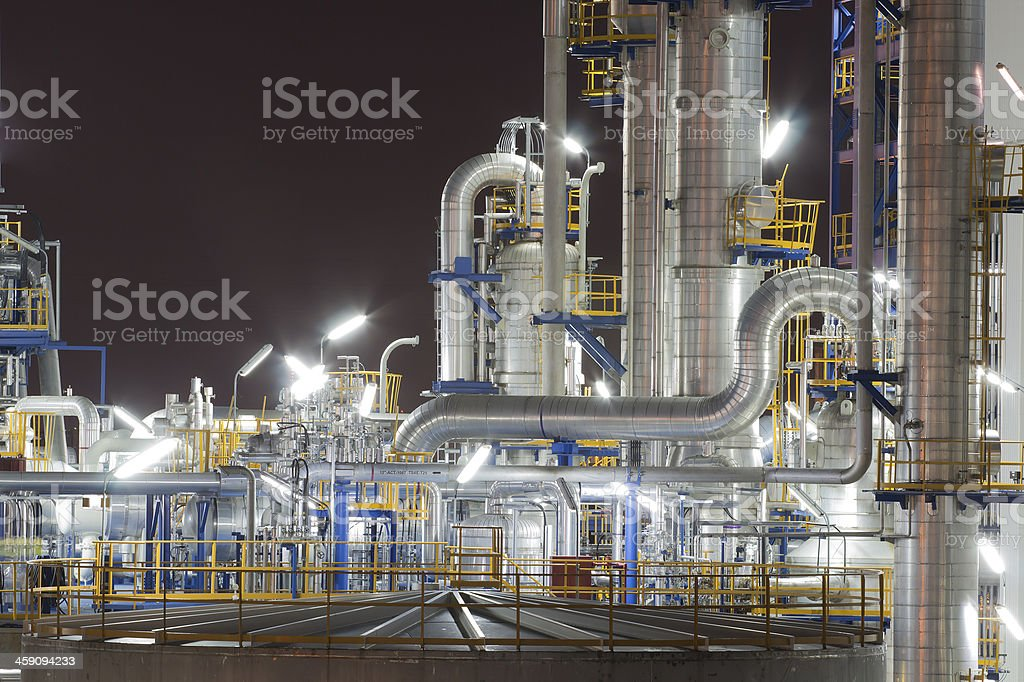 Chemical industrial plant in night time stock photo