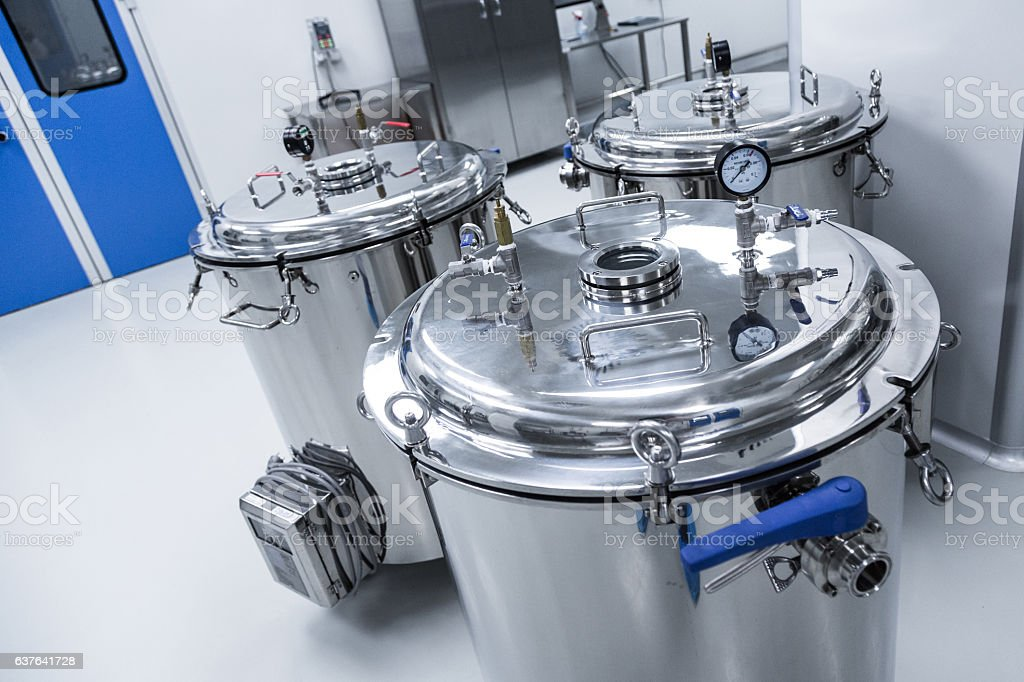 chemical industry, hall with equipment stock photo