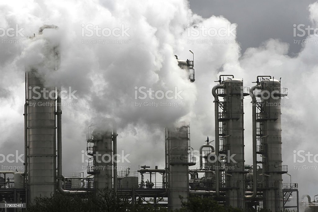 Chemical industry with cooling water damp stock photo