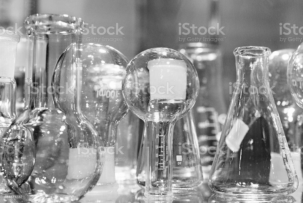 Chemical laboratory glassware. Abstract background. stock photo