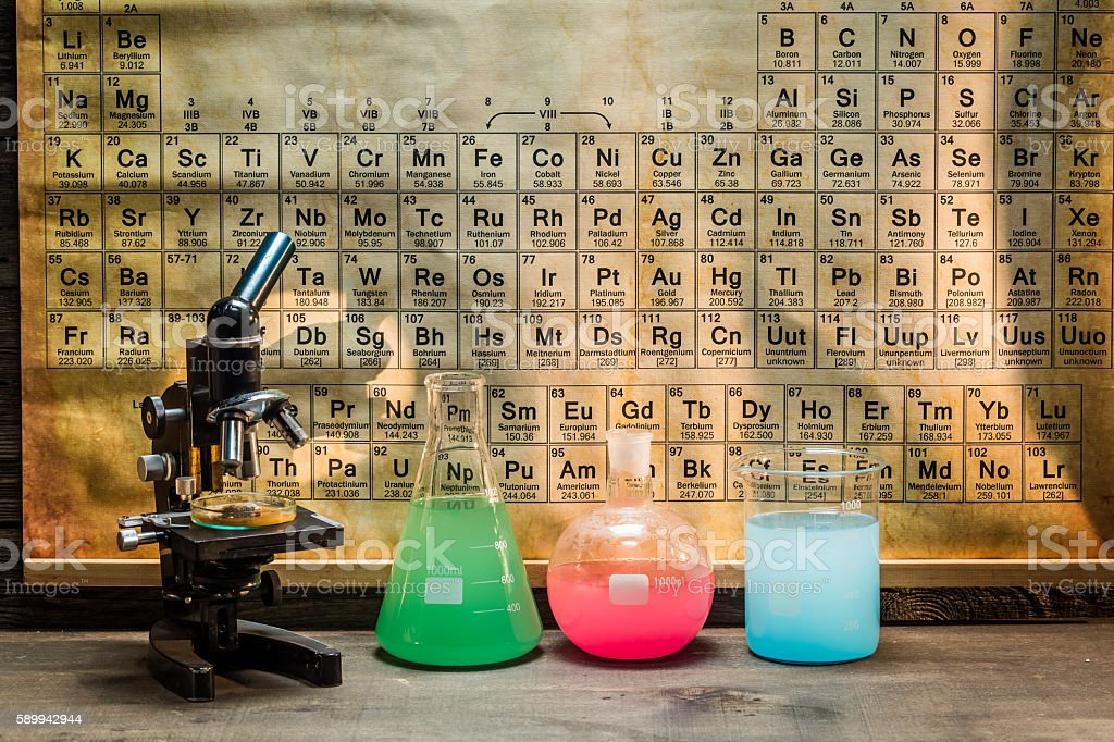 Chemical laboratory with microscope and sample stock photo
