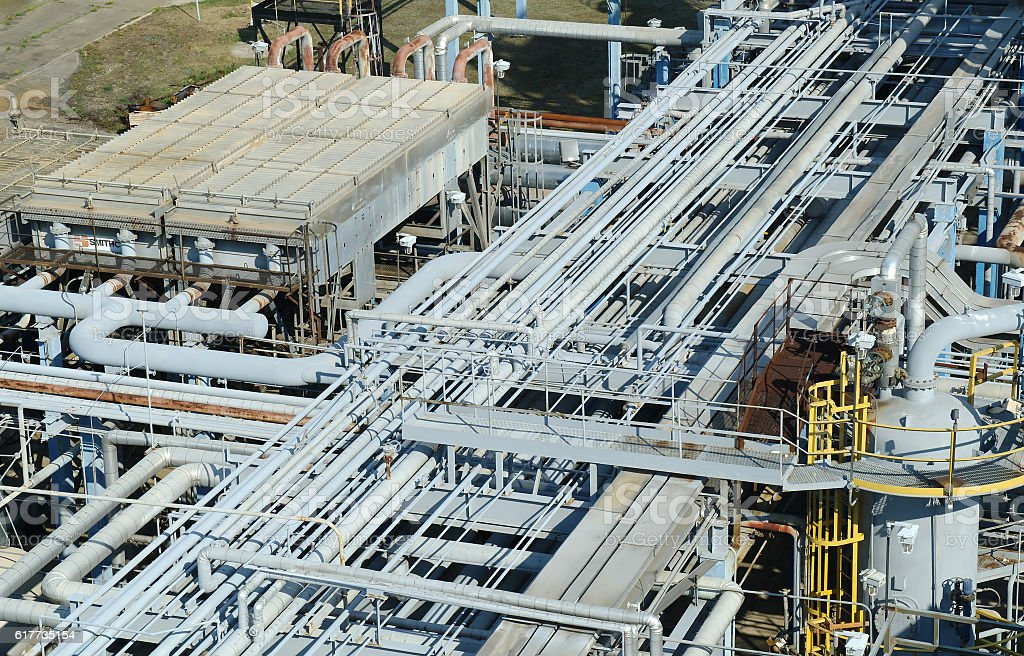 Chemical manufacturing plant construction stock photo
