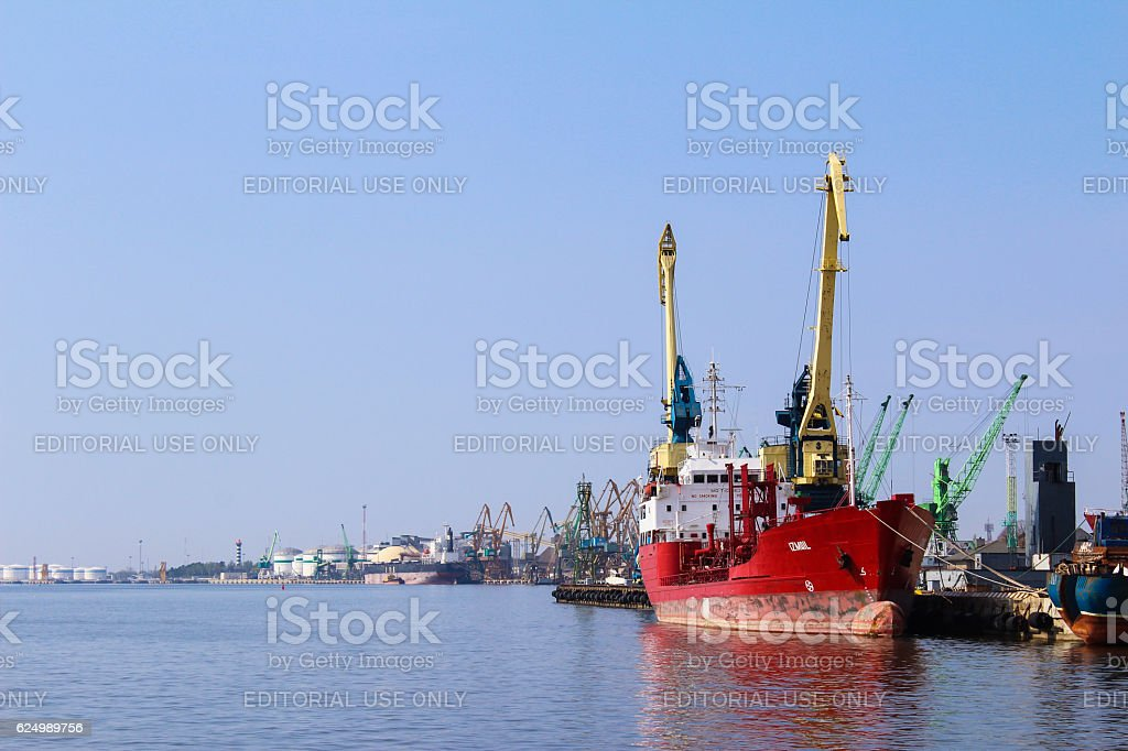 Chemical Oil Products Tanker Ismail at Klaipeda Harbor stock photo
