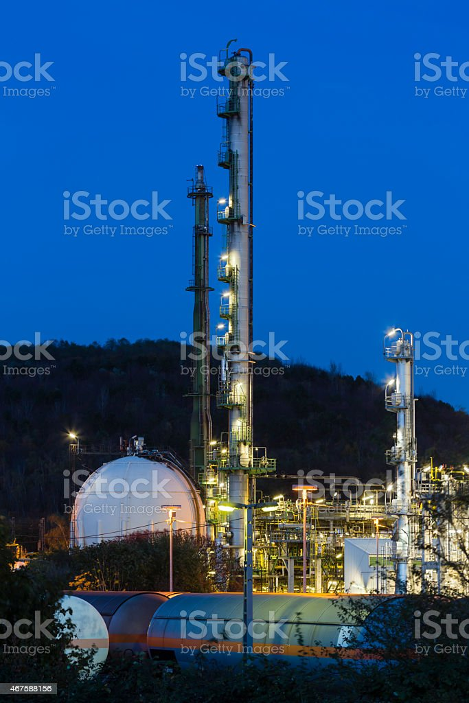 Chemical Plant And Railroad Cars At Night stock photo