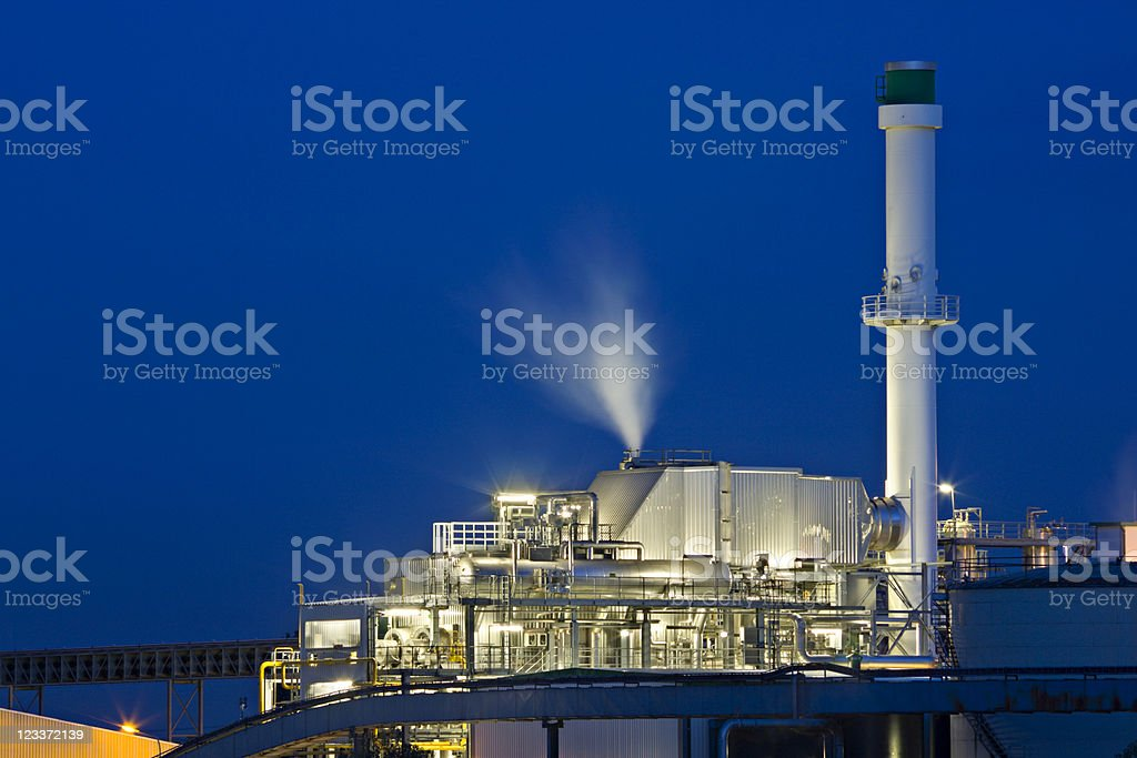 Chemical Plant At Night royalty-free stock photo