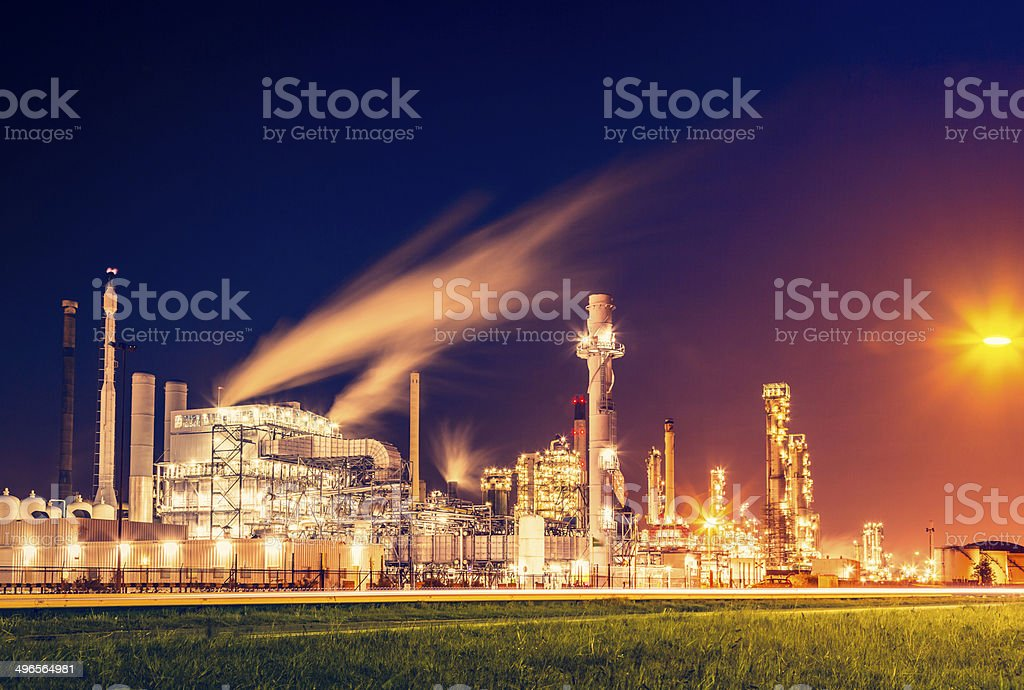 Chemical plant at night stock photo
