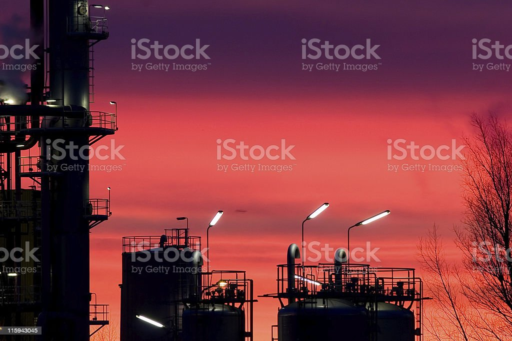 Chemical plant at sunrise royalty-free stock photo