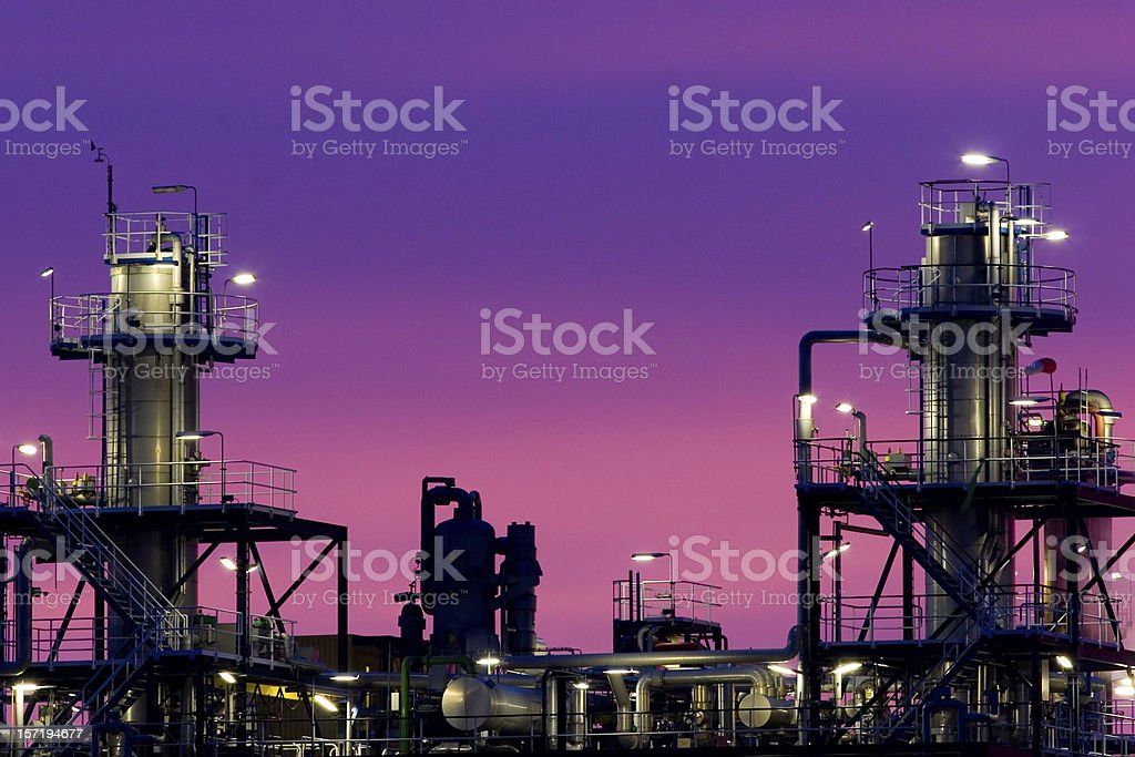 Chemical plant at sunrise royalty-free stock photo