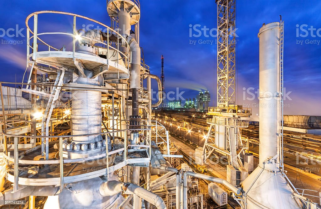 Chemical plant for production of ammonia and nitrogen fertilization stock photo