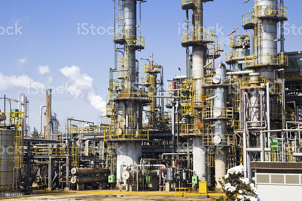 Chemical plant in the blue sky stock photo