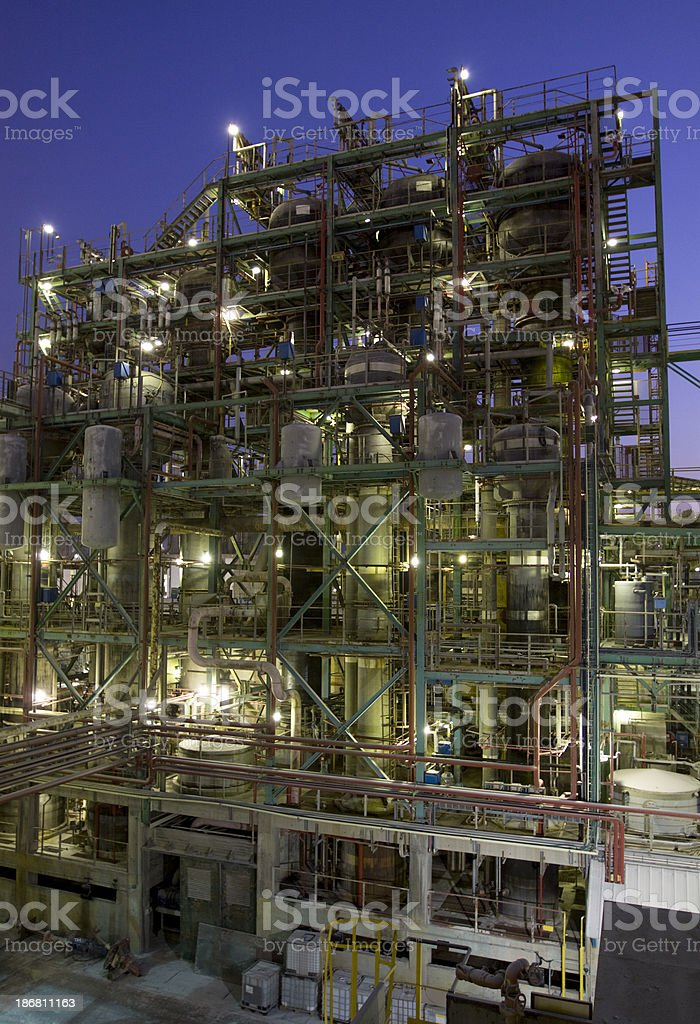 Chemical plant installation at night royalty-free stock photo