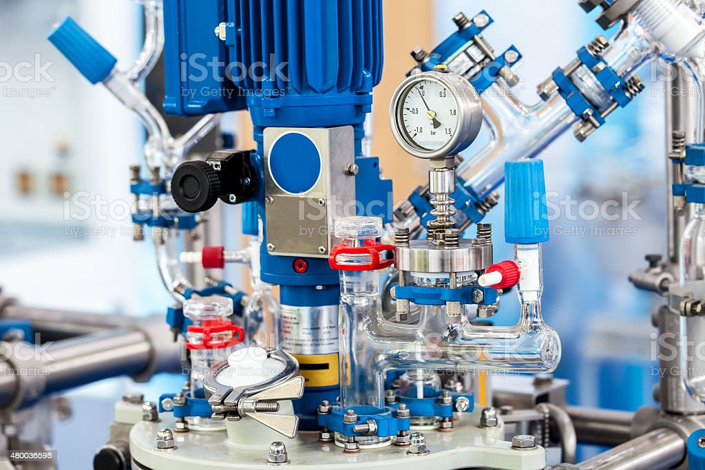 Chemical processing reactor systems closeup stock photo