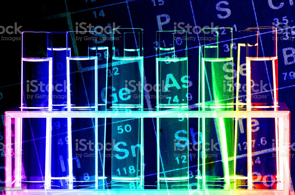 Chemical Reagents and Periodic Table. stock photo