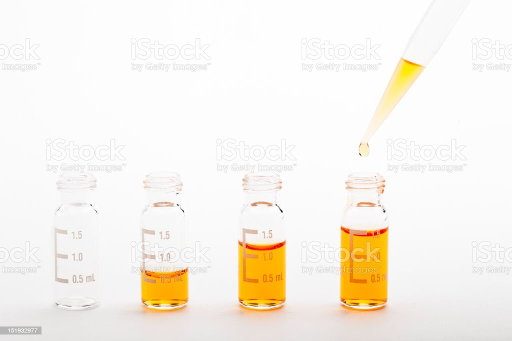Chemical research - sample preparation + clipping path stock photo