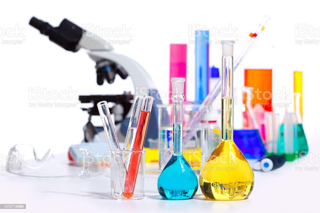 Chemical scientific laboratory stuff test tube flask stock photo