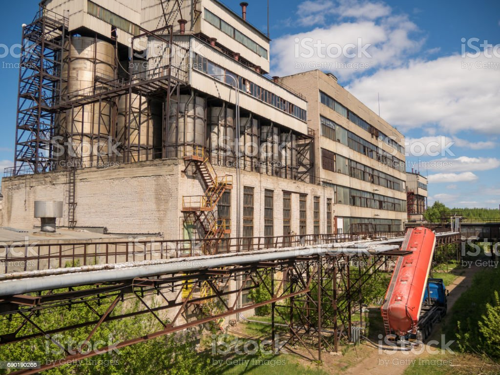 chemical silos stock photo
