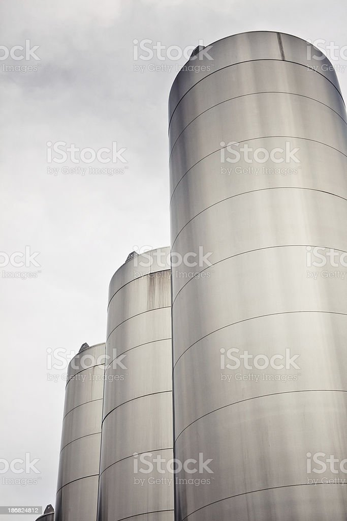 Chemical silos used in food storage stock photo
