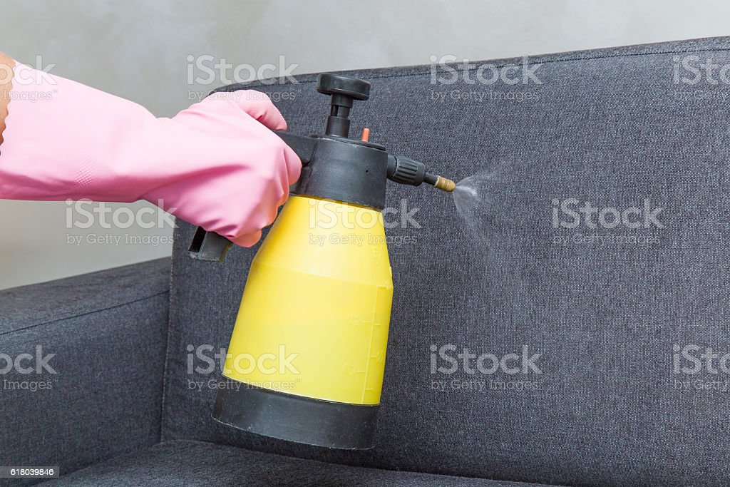 Chemical spray on the textile sofa. Professionally cleaning. Upholstered furniture. stock photo