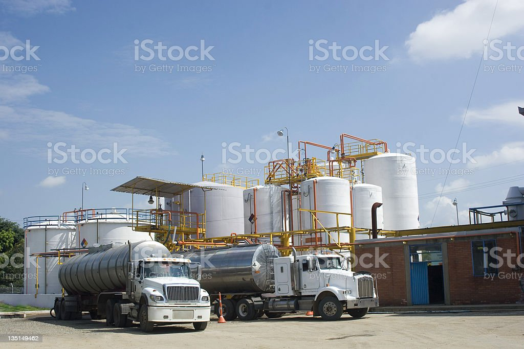 Chemical Storage Tank And Tanker Truck royalty-free stock photo